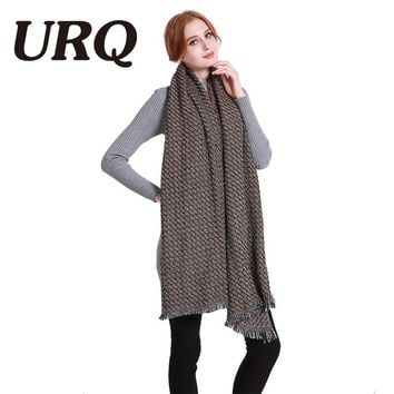 [URQ] Colorful Knitted Winter Scarves Brand Luxury Design Women Long Acrylic Scarf Shawl Winter Extra Large Wraps A6A20864