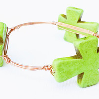 Apple Green Turquoise Wire Wrapped Bangle - Turquoise Wire Wrapped Bracelet - Turquoise Wire Bangle - Turquoise Cross Jewelry