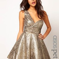 ASOS PETITE Exclusive One Shoulder Dress In Metallic Jacquard at asos.com