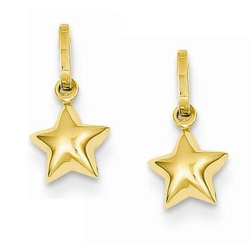 14k Yellow Gold Star Hoop Earring Charms