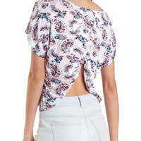 Ivory Combo Paisley Print Button-Topped Tee by Charlotte Russe