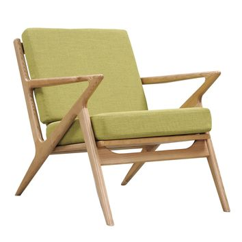 Zig-Zag Mid-century Modern Accent Chair Avocado Green