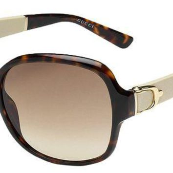 DCK4S2 Gucci Women's GG 3638/S Havana Brown Gradient Oversized Stirrup Sunglasses