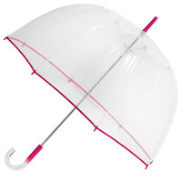 ModCloth Un-teal the Clouds Clear Umbrella in Fuchsia