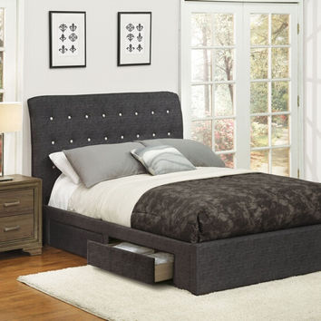 Acme 25680Q Drorit dark gray fabric tufted under bed storage drawers queen bed set