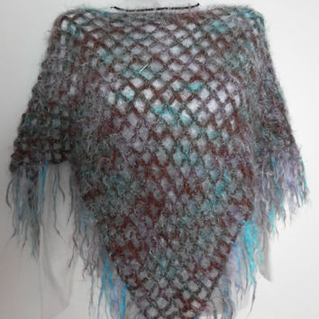 10% discount with coupon code SLAVENA Crochet Poncho Earth, Turquoise, Teal Multicolor Colorful Mohair Warm Poncho