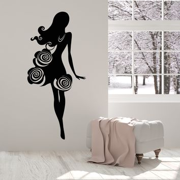 Vinyl Wall Decal Fashion Top Model Silhouette Girl In Dress Flowers Buton Stickers (2739ig)