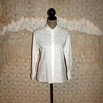 White Linen Blouse Womens Shirt Embroidered Long Sleeve Petite Button Up Blouse Vintage White Shirt Talbots Small Medium Womens Clothing