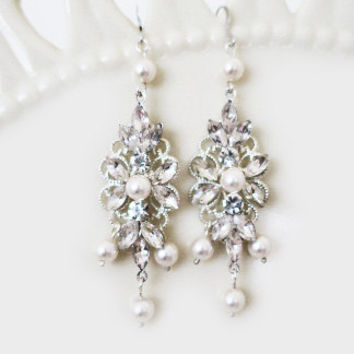 Chandelier Bridal Earring Wedding Pearl Earrings Crystal Bridal Art Deco Wedding Earrings Statement Bridal Jewelry Swarovski Long Dangle