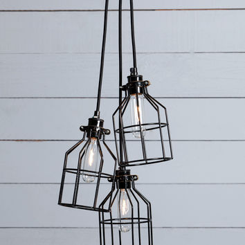 Industrial Chandelier - Black Wire Cage - 3 Light Cluster