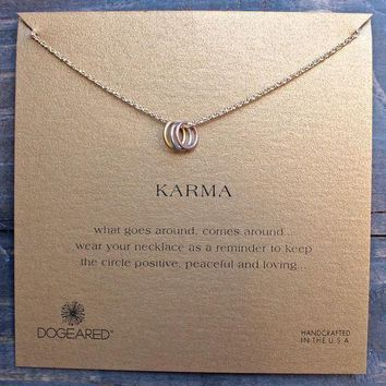 DCCKLM3 Dogeared Triple Karma Ring Sparkle Chain Necklace, 18'