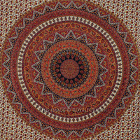 Queen Red Multicolor Psychedelic Bohemian Hippie Tapestry Hanging Bedspread on RoyalFurnish.com