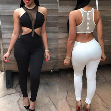 High Neck Midriff Jumpsuit Rompers
