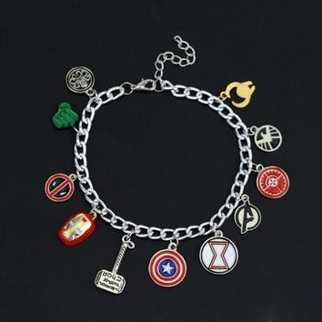New design Avengers charm bracelet Captain America Shield  Iron Man Mask Thor's hammer eagle deadpool hulk unisex bracelet
