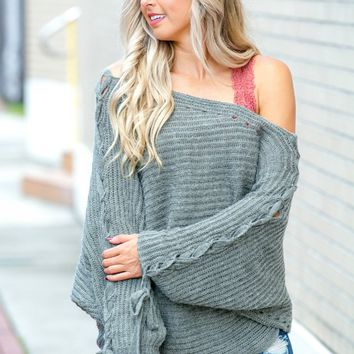 Sorry Not Sorry Off Shoulder Oversized Grey Lace Up Sleeve Sweater – Simply Me Boutique