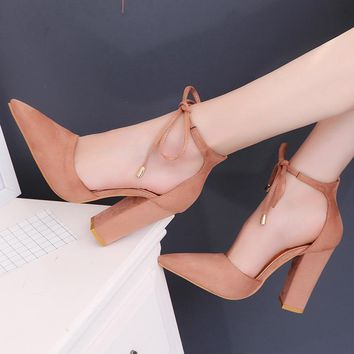 2018 summer women shoes high heels gladiator sandals pearl buckle strap women pumps point toe sexy pink nude sandalia feminina