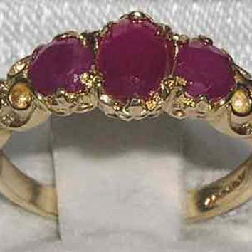 English 14K 14ct Yellow Gold Genuine Natural Ruby Victorian Trilogy Ring - Made in England - Supplied in Your Finger Size