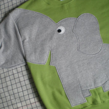 Kiwi color, Elephant shirt, Elephant sweatshirt with trunk sleeve,interative Elephant sweater Adult size large