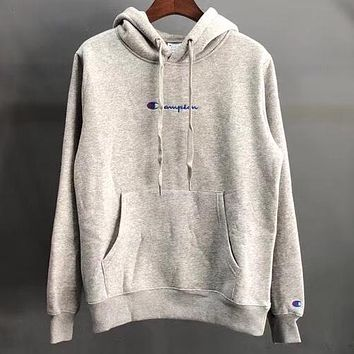 Champion x Ciaopanic co-branded embroidery cursive letter hooded hoodie Grey