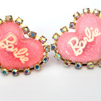 Crystal Barbie Pink Stud earrings FREE SHIPPING