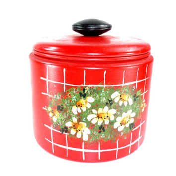 Red Mirro Canister Hand Painted Flowers Black Knob Vintage from the 1950s