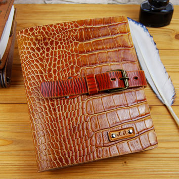 A5 Journal Gift Alligator Imitation Leather Notebook Gift for Him Gift for Her Personalized Journal Custom Leather 7x9 Journal TiVergy