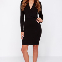 Taking Minutes Black Long Sleeve Midi Dress