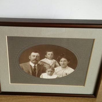 Vintage Family Photo with Frame, Vintage Victorian Photo Family with Frame