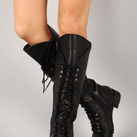 Soda Water-S Leatherette Military Lace Up Knee High Boot
