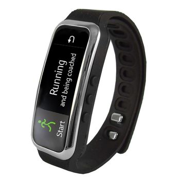 Supersonic Bluetooth Smart Wristband Fitness Tracker with Incoming Call Alert in Black