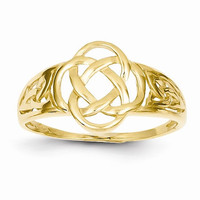 Ladies celtic knot 14kt yellow gold ring