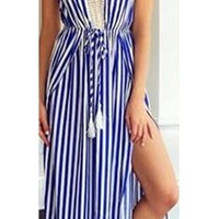 Blue White Vertical Stripe Crochet Trim Sleeveless V Neck Tie Waist Thigh Slit Maxi Dress