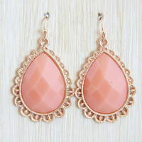 Peach Raindrop Earrings