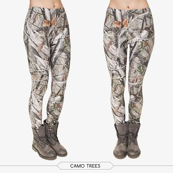 Fall Foliage Camo Branches 3D Printing Leggings