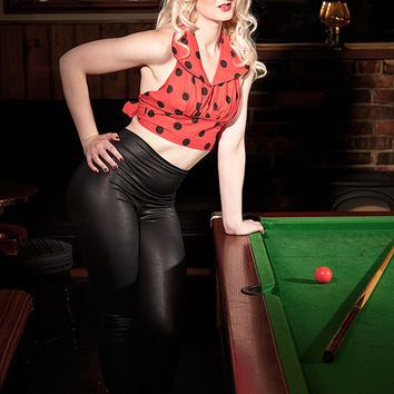 Polka Dot Halter Neck Top, Pin Up Top, Retro Crop Top, Open Back Top, Christmas Party Top, Rockabilly Clothing in Sizes: XS-XL