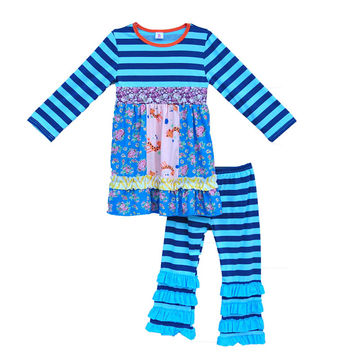 Kids Fashion High Quality Blue Striped Floral Dresses Toddler Girls Boutique Clothing Cotton Children Daily Outfits Set F053