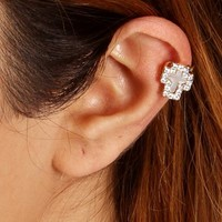 Gold Rhinestone Cross Ear Cuff
