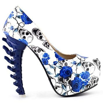 Show Story Ladies Skull Rose Print Platform Bone Heel Party Club Pumps,LF80610