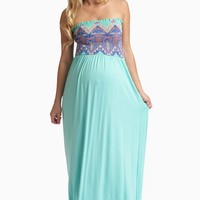 Mint Green Printed Top Strapless Maternity Maxi Dress