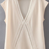 Apricot Deep V-Neckline Lace Cut-Out Chiffon Top
