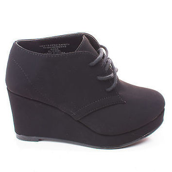 FavorIIS Children's Girl Round Toe Lace Up Wedge Ankle Bootie
