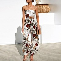 Strapless Jumpsuit Romper Floral Boho Beach Jumpsuit Wide Leg Long Backless Jumpsuits Rompers