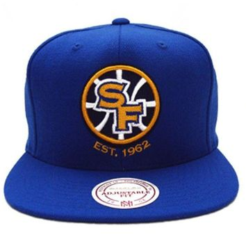 ONETOW Mitchell N Ness San Francisco Golden State Warriors Blue Yellow Sf Snapback Hat Cap