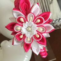 Girl kanzashi headband,girl headband,Kanzashi flower headband,bow headband,girl hair accessory,teen hair accessories,women headband.