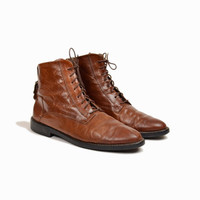 Vintage 90s Italian Leather Boots / Lace Up Boots with Buckle in Redwood Brown - women's 7.5