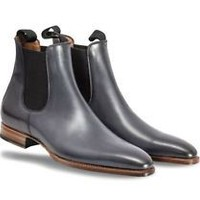 Handmade Mens Ash gray Chelsea boot, Men's leather boot, Ankle leather boots