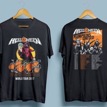 Helloween PUMPKINS UNITED World Tour 2017 T shirt Men two sides cotton casual gift tee USA Size S-3XL