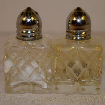 Cut Crystal Salt And Pepper Shakers Vintage Individual S