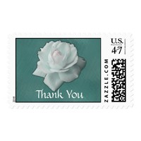 White Rose on Teal - Thank You Postage