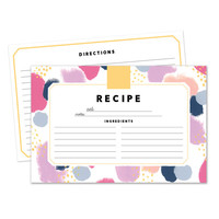 Set of 15, 30 or 50 Recipe Cards - Pink Confetti Design - 4x6 Recipe Cards - High Quality Linen Cardstock